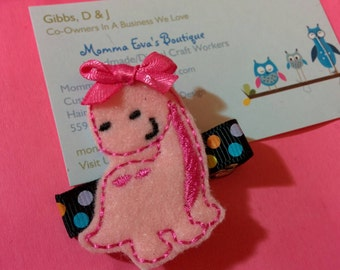 NEW // Pink Dino Girl Hair Clippie / No Slip Grip Available / Fast Shipping