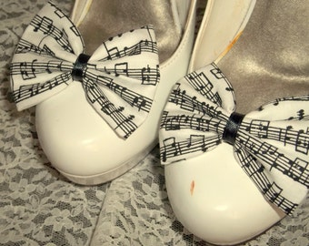 Musical Notes Shoe Clips,  Shoe Clips, Black white,  teacher gift, music gift,  music fabric, Goth, Gothic, bows,  music notes, music note