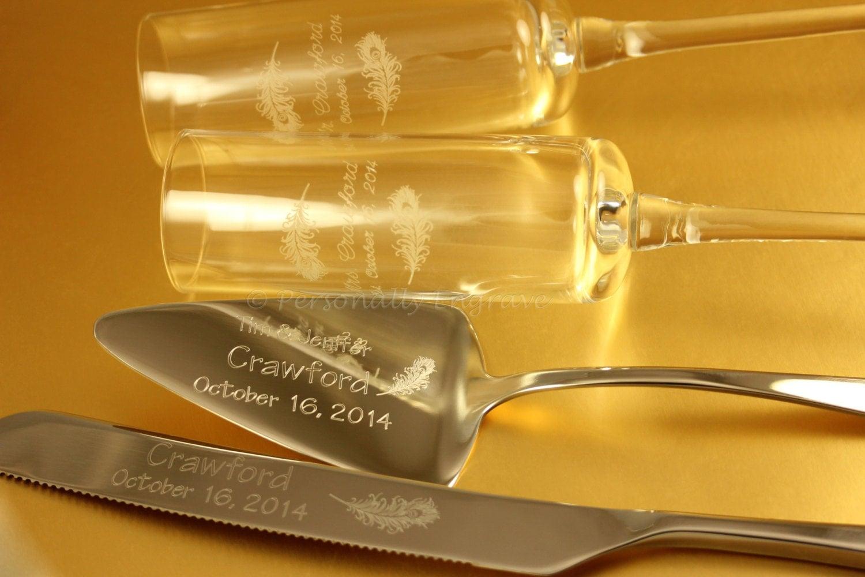 engraved wedding sets cake server knife forks and flutes. Black Bedroom Furniture Sets. Home Design Ideas