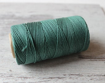 Green Linen Cord / Natural Linen Thread / Green Twine /  Cord for Bookbinding /  1 spool / Gift Wrapping Cord / Natural Linen Cord
