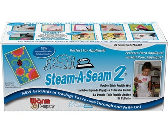 Steam-A-Seam 2, Double Stick Fusible Web, Applique Adhesive, by the Yard, Sewing Fusible, Craft Supply, 12 x 36