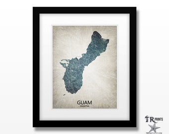 Guam Map Art Print - Home Is Where The Heart Is Love Map - Original Custom Map Art Print Available in Multiple Sizes