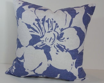 Blue  Decorative Pillow Cover, P Kaufmann Fabrics, Blue and White Cushion Cover