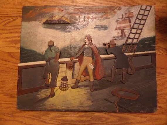 Antique folk art wood relief d battle ship by
