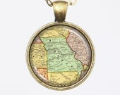 Missouri, Map Necklace- Antique Map of Missouri, Old Map Series