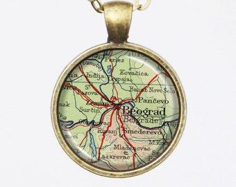 Belgrade, Custom Map Necklace- Antique Map of Belgrade, Old Map Series