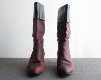 Vintage 80s Burgundy Slouch Boots Leather Cuff Tall Pirate Boots Size 7