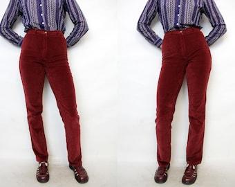 Vintage 90s Grunge Dark Red Velvet Boot Cut High Waist Fitted Stretcy Plush Burgundy Pants