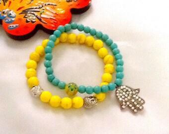 SALE ------- SUNSHINE in  PARIS --- bohemian bracelet - gypsy bracelet - ethnic Hamsa bracelet