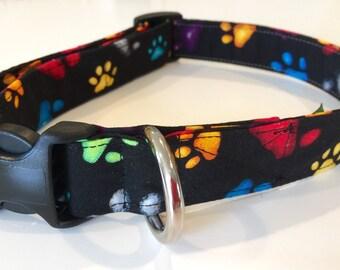 Multi color paw print collar