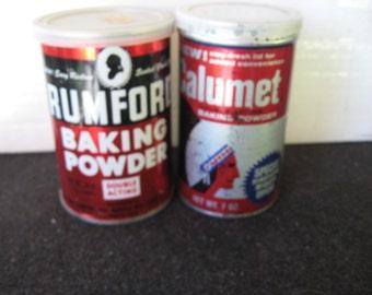 Vintage Baking Powder Tins Rumford, Calumet