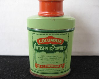 Vintage Columbia Antiseptic Powder Tin  Sample Tin