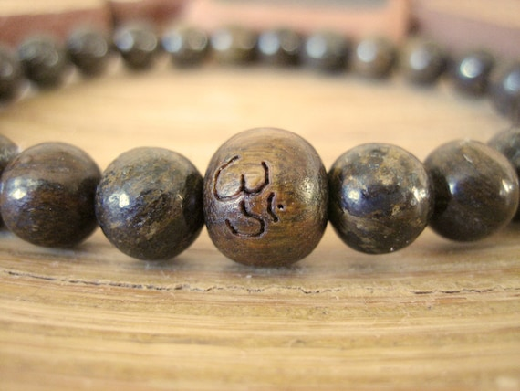 Mens Om Bracelet - Mens Bracelet with Bronzite Stone Beads and Etched Wood Mala Bead, Simple Brown Bracelet for Determination and Grounding