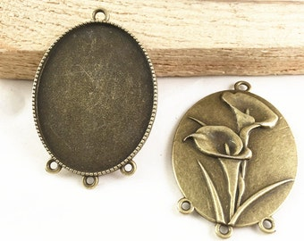 Cabochon Base -5pcs Antique Bronze Cabochon Setting Bezel Tray Pendants 35x45mm 3 Loops G204-6