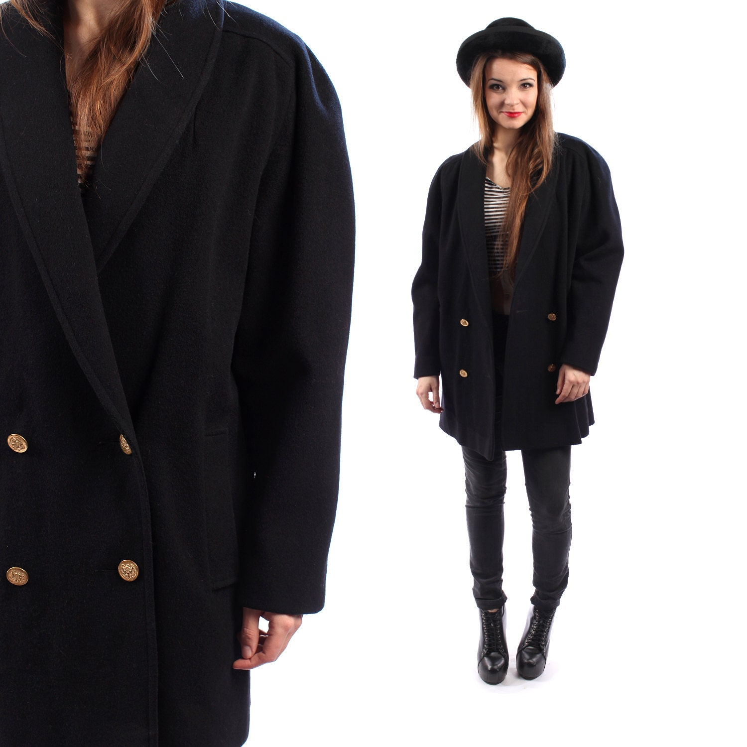 Baggy WOOL Coat Short DUSTER Jacket Minimalist Oversized BLACK