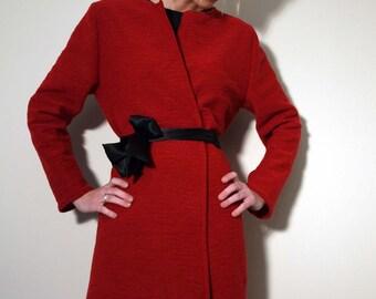 Red Coat with Black Silk Belt and Asymmetrical Hemline