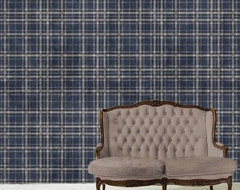 Gingham Wallpaper Removable WallSkin- Washed Gingham- Peel & Stick Self Adhesive Fabric Temporary-Repositionable-Reusable- FAST. EASY.