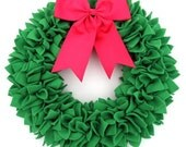 Christmas Wreath - Holiday Wreath - Green Wreath - Door Wreath - Indoor Wreath - Fleece Wreath - Rag Wreath - Green and Pink Wreath