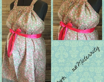 Maternity Hospital Gown- Gray, hot pink cherry blossoms, gray band