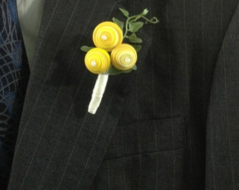 Wedding Pin On Corsage or Boutonniere in Shades of Yellow