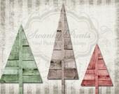 SWANKY PRINTS ORIGINAL 6ft x 5ft Three Trees / Vinyl Photography Backdrop / Christmas Drop