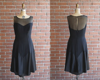 VIntage 1950s Rehoboth Evening Dress / 50s black sheer sleeveless sweetheart dress / Small S