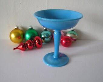 Blue Milk Glass Compote Dish