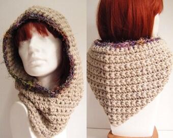 Beige Chunky Crochet Hooded Cowl