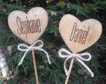 Heart Cake Toppers, Wood Cake Toppers, Personalized Cake Toppers, Rustic Cake Toppers, Custom Cake Toppers, Rustic Wedding, Burlap Wedding