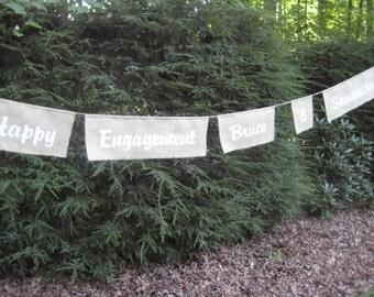 Happy Engagement Sign, Burlap Banner, Burlap Wedding, Rustic Wedding, Burlap Engagement Banner, Personalized Burlap Banner, Custom Banner