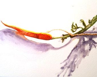 Painting-Vegetable Painting-Carrot-Orange Art-Kitchen Art-Original Art