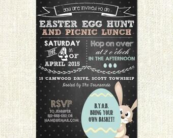 Easter Egg Hunt Picnic Party Custom Printable Invitation