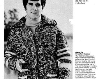 Cowichan Sweater Knitting Pattern Men's Cardigan Buttoned Vest Digital Pattern Instant Download on Etsy