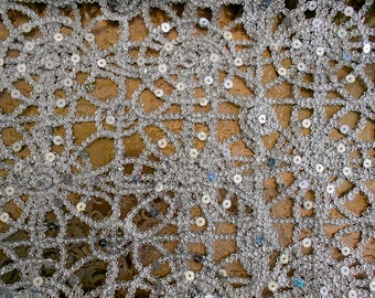 Silver Sequined Fabric