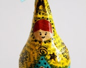 Babushka Inspired Art Doll Ornament in Yellow and Teal, Mixed Media, Christmas Ornament
