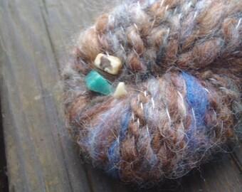 Handspun Art Yarn 61.5 yards 2.25 oz Three Little Pigs Homes- Rock Hound