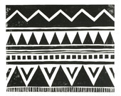 Giclee Print - Tribal Triangles and Zig-Zag Pattern - Geometric Block Print