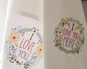 Valentine's gift - Set of 2 Embroidered  100% Linen Towels - I Love You - Valentin's Day Kitchen Hostess Dinner Birthday  Bridal Shower Gift