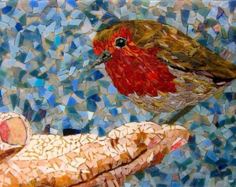 Perch- Stained and Recycled Glass Mosaic