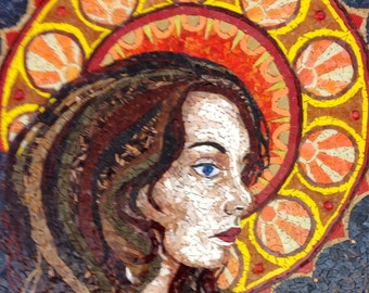 Sunburst- Art Nouveau Inspired Mixed Glass Mosaic