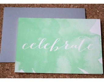 Watercolor Stationery Note Card Set - Silhouette Calligraphy Celebrate Note Set - Watercolor and Typography Note Cards
