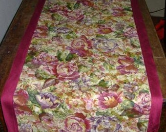 Fringed floral table runner, floral tablecloth, table linens, cabbage rose decor, fringed runner, autumn decor, summer tablecloth