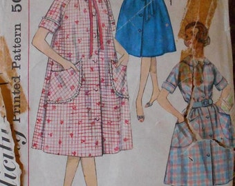 Simplicity 3712 women's robe pattern, bust 34 pattern, belted dress pattern, bathrobe pattern, duster pattern, housecoat pattern