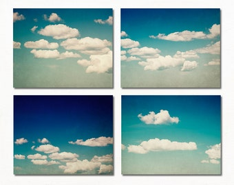 Blue Photograph Set, Set of 4 Prints, Four Photo Set, 8x10 Cloud Photography Set, Blue and White Wall Art Set