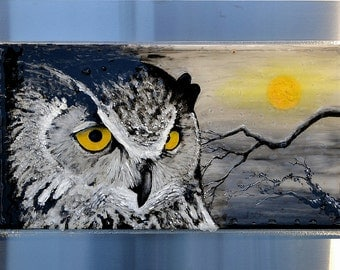 """Great Horned Owl 30""""x18"""" - Fused Glass Wall Hanging Art - Impressionist Enamel Painting on Glass"""