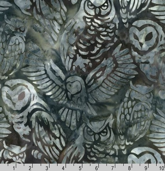 kaufman owl batik by lunn studios. Black Bedroom Furniture Sets. Home Design Ideas