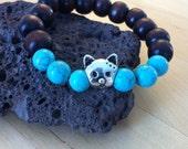 Kids Buddha worry bead wood mala meditation bracelet with cat head bead and turquoise beads