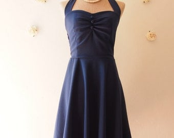 Navy Bridesmaid Dress Navy Party Dress Vintage Inspired Navy Dress Nautical Dress Dark Blue Rockabilly Summer Sundress  -Size XS-XL, Custom