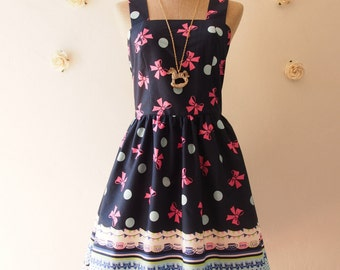 SALE Navy Summer Dress Carousel Dress Cute Lolita Style Dress Woodland Bridesmaid Dress Navy Party Dress Size -xs-xl, custom