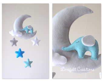 READY TO SHIP Baby mobile - Mobile moon - Elephant mobile - Crib Mobile elephant - Baby Mobile Stars